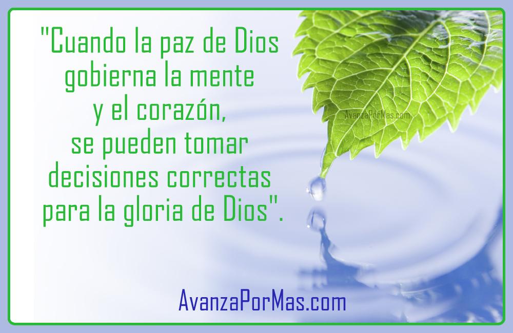 """POSTAL) """"Cuando la paz de Dios gobierna la mente y el corazón ..."""